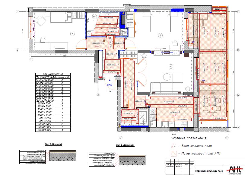Схема квартиры в которой монтируют теплый пол от AHT-Ukraine.