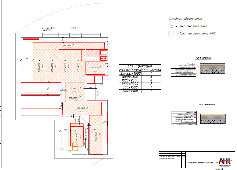 План квартиры для монтажа теплого пола ахт